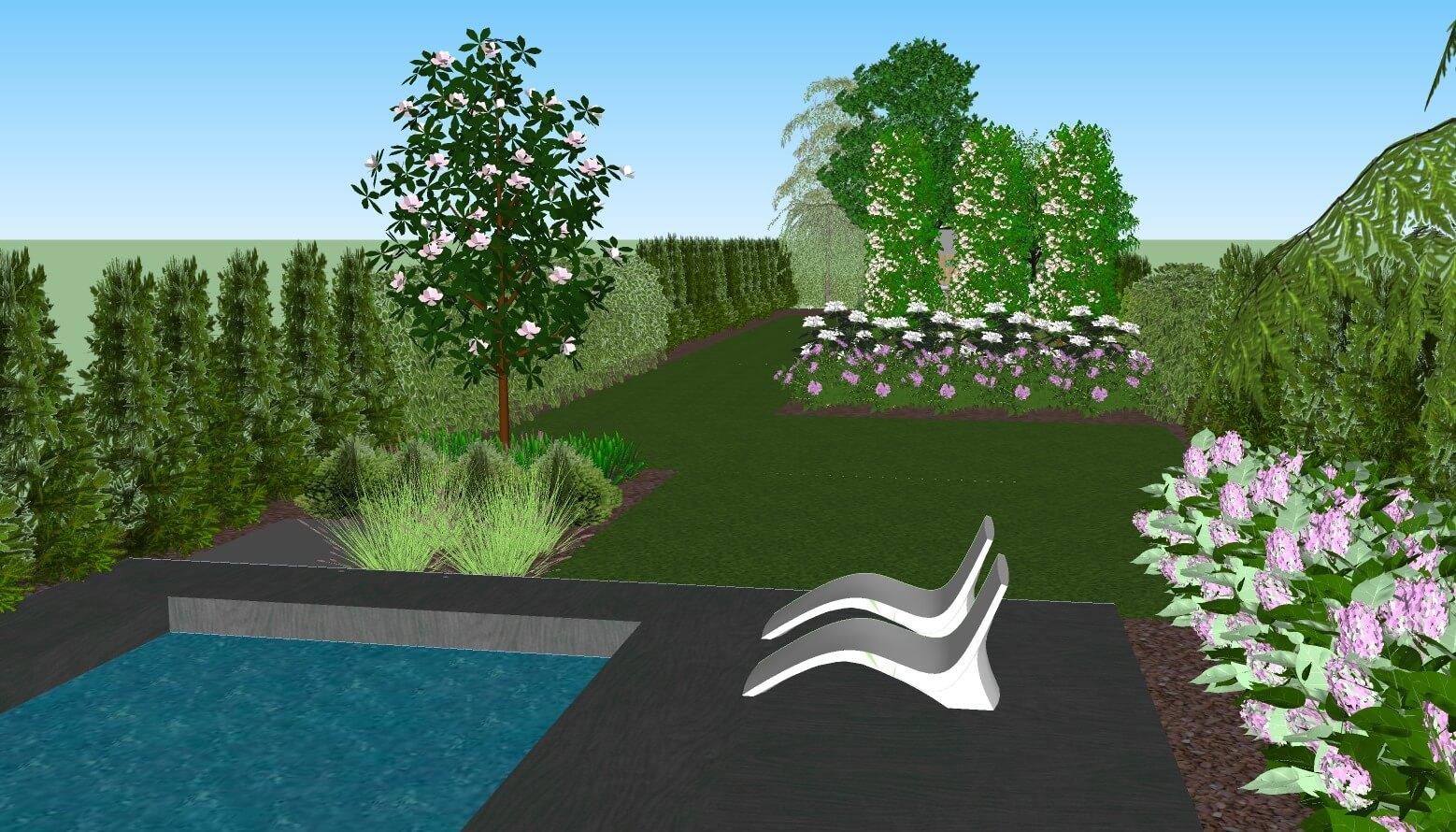 Ogród zbasenem - projekt