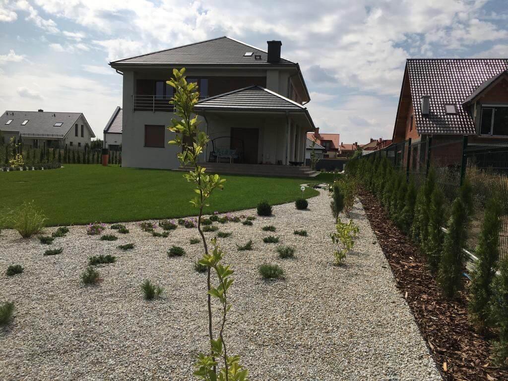 Trawnik przeddomem - realizacja firmy ogrodniczej